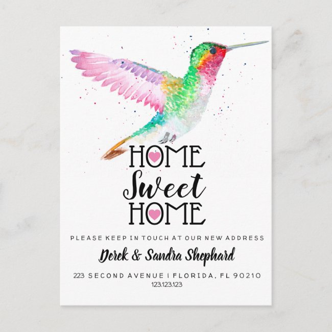 Change of address we have moved hummingbird announcement postcard