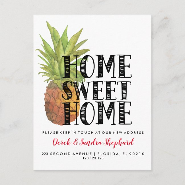 Change of address we have moved pineapple announcement postcard