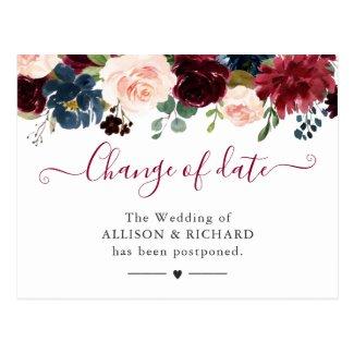 Change of Date Burgundy Blush Navy Floral New Plan Postcard