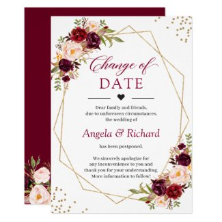 Change of Date Burgundy Red Floral Gold Geometric Invitation