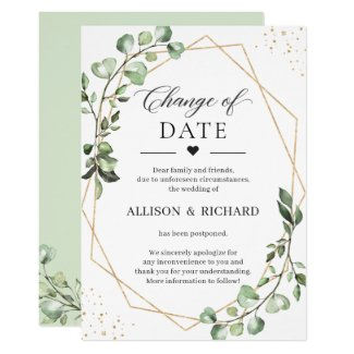 Change of Date Greenery Eucalyptus Geometric Card