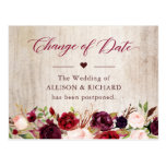Change of Date Rustic Wood Burgundy Red Floral Postcard