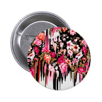 Change of Heart, melting floral pattern Pinback Button