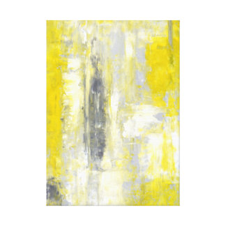 'Change of Mind' Grey and Yellow Abstract Art Canvas Print