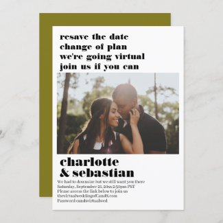 Change of Plan Virtual Wedding Save the Date Photo