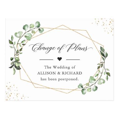Change of Plans Date Geometric Eucalyptus Leaves Postcard