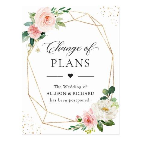 Change of Plans Gold Geometric Blush Pink Floral Postcard