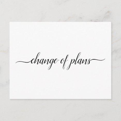 Change of Plans Wedding Cancellation Postponement Announcement Postcard