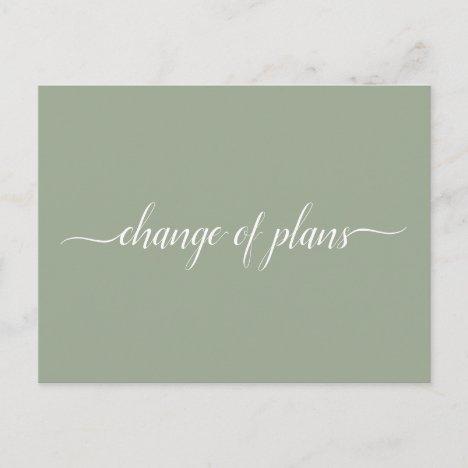 Change of Plans Wedding Cancelled Postponed Sage Announcement Postcard