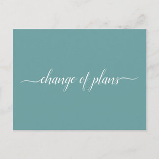 Change of Plans Wedding Cancelled Postponed Teal Announcement Postcard