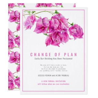 Change of wedding plan bougainvillea pink cancel invitation
