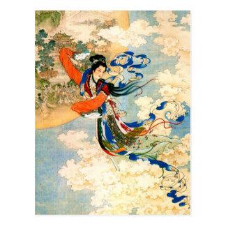 Chang'e que vuela a la luna tarjeta postal