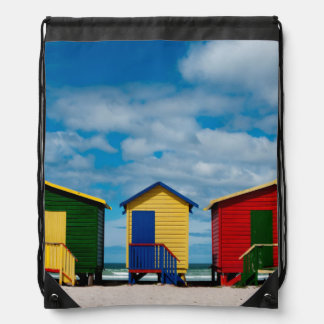 Change Rooms. Muizenberg Beach, Cape Town Drawstring Backpack
