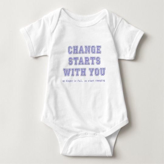 Change Starts With You Funny Baby Diaper Romper