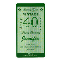 Change the Age Birthday Wine Personalized Green Label