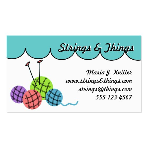 Knitting Logo Business Cards : Change the color knitting yarn balls business card zazzle