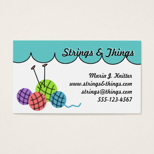 Change the color - knitting yarn balls business card