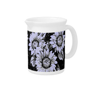 Change the Color Sunflowers b&w Beverage Pitcher