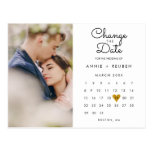 Change the Date Calendar Gold Love Heart Photo Postcard