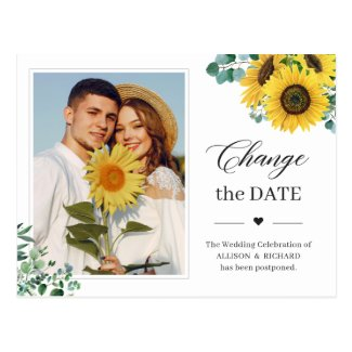 Change the Date Classy Sunflower Eucalyptus Photo Postcard