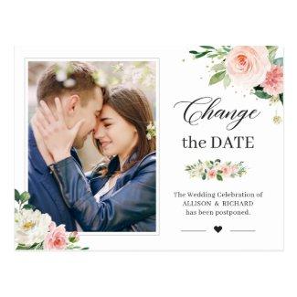 Change the Date Elegant Blush Pink Floral Photo Postcard