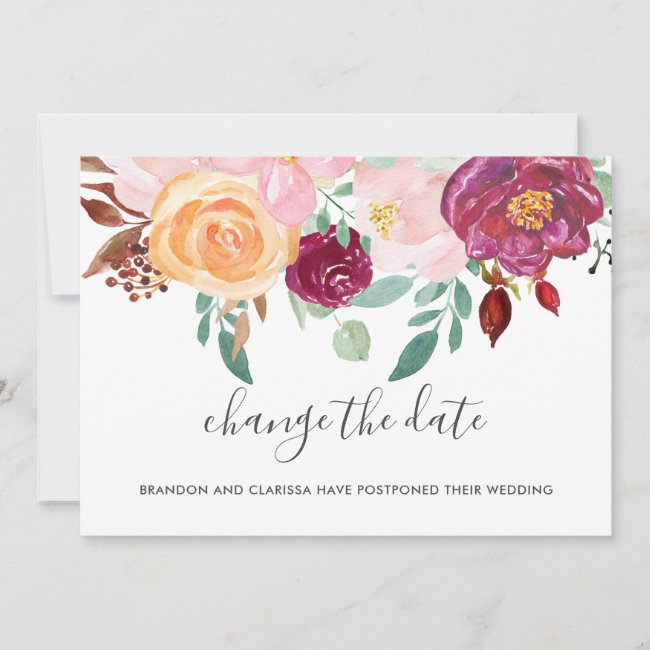 Change The Date Elegant Peach Floral Wedding Announcement
