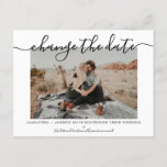 """Change the date modern chic typography photo announcement postcard<br><div class=""""desc"""">Change the date modern chic typography photo to announce the postponement of your wedding and new plans</div>"""