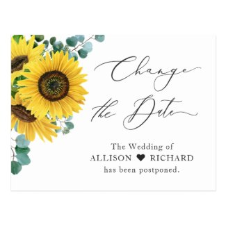 Change the Date Postponed Eucalyptus Sunflower Postcard