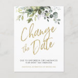 """Change The Date, Postponed, Wedding Cards Greenery<br><div class=""""desc"""">Canceled, Postponed, or Rescheduled event? Easily inform your guests with our beautiful greenery change the date cards. SAVE: Save money! These postcards qualify for the lowest USPS postcard rate. QUALITY: Printed on heavyweight smooth card stock. You'll notice the difference with using thick cardstock. THE PERFECT SIZE: Just add your postage...</div>"""
