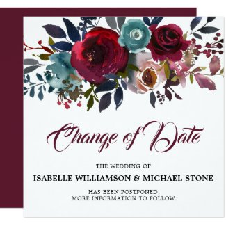 Change the Date Red Burgundy Floral Wedding Invitation