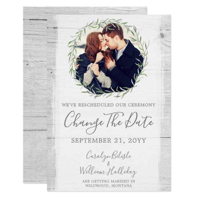 Change The Date Rustic Rescheduled Wedding Card