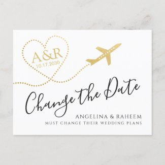 Change the Date Travel Destination Wedding Announcement Postcard