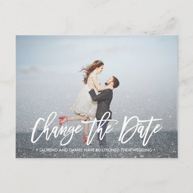 CHANGE THE DATE typography Glitter silver photo Announcement Postcard