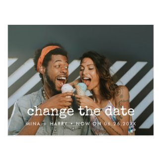 Change the date wedding postponement photo postcard