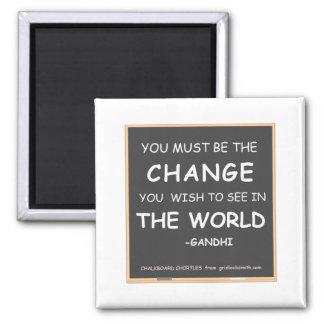 CHANGE THE WORLD-GANDHI 2 INCH SQUARE MAGNET