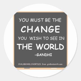 CHANGE THE WORLD-GANDHI CLASSIC ROUND STICKER