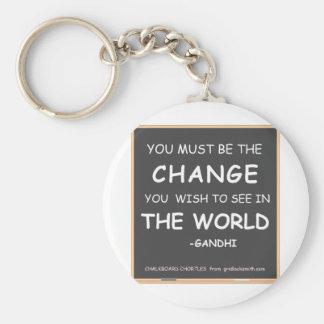 CHANGE THE WORLD-GANDHI KEYCHAIN