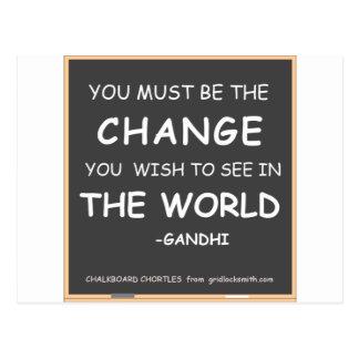 CHANGE THE WORLD-GANDHI POSTCARD