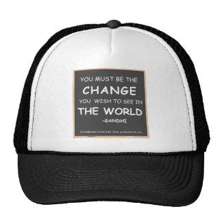 CHANGE THE WORLD-GANDHI TRUCKER HAT