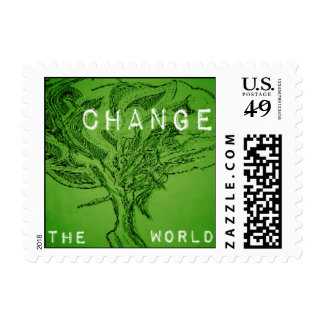 """Change the World"" - Go Green Stamp"