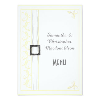 Change to any color white lace wedding menu 5x7 paper invitation card