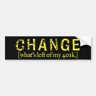 Change: What's left of my 401k Bumper Sticker Car Bumper Sticker