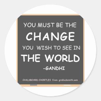 Change-World-Gandhi Classic Round Sticker