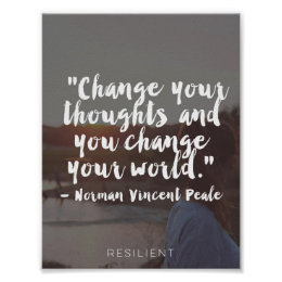"""""""Change Your Thoughts"""" Cursive Quote Poster"""