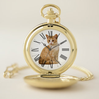 CHANGEABLE BACKGROUND COLOR-CAT POCKET WATCH
