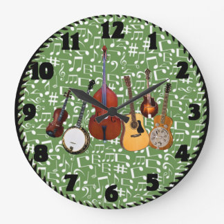 CHANGEABLE BACKGROUND COLOR MUSIC NOTES LARGE CLOCK