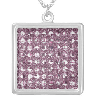 Changeable Hint of Color Sequinned Effect Charms Square Pendant Necklace