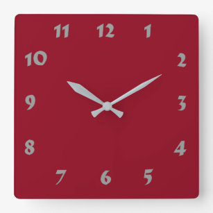 Changeable Numbered Dark Red Clock