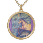 necklace, gold plated, fine art print, horse,