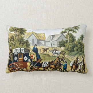 Changing Horses Vintage English Stagecoach Throw Pillow